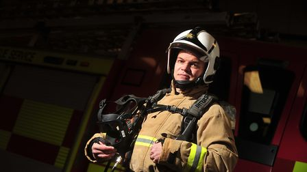 Ipswich firefighter Dale Mason is running the London Marathon in his full firefighting kit. Picture