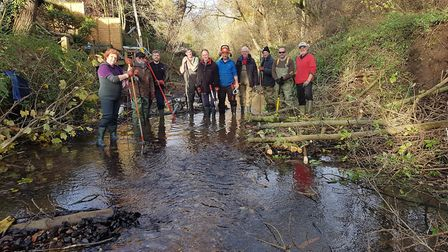Volunteers from the River Lark Catchment Partnership enhance the river in Bury St Edmunds last year.