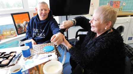The artist, from Walton-on-the-Naze, at a session hosted inside the Colchester recovery centre. Pict