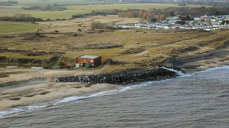 The Benacre pump today - latest erosion has seen part of the defences lost. Picture: MIKE PAGE