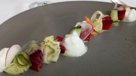 Sea trout with beetroot, picked vegetables and yuzu. Picture: Charlotte Smith-Jarvis