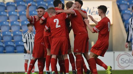 Stow Reserves celebrating a goal during last season's Suffolk Senior Reserve Cup final win. Photo: B