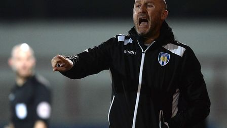 U's boss John McGreal barks out instructions during the goalless draw at Morecambe. Picture: RICHARD