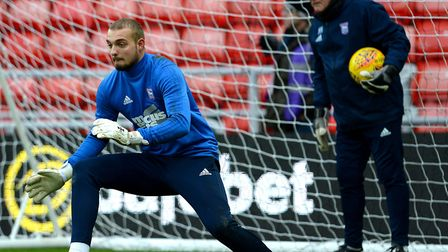 Ipswich Town keeper Michael Crowe warming-up with goalkeeper coach Malcolm Webster. Photo: Pagepix