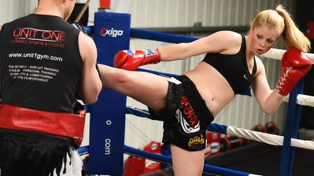 Hannah Turner training at Unit 1 Gym with her head coach Richie Gent. Picture: GREGG BROWN