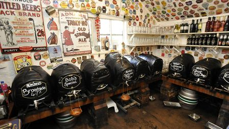 Inside the cellar tap room at The King's Head, Laxfield, back in 2013. Picture: ANDREW PARTRIDGE