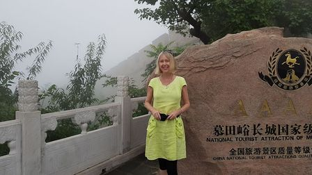 Elene Marsden at the Great Wall of China, on the holiday she was due to take with her husband, Steve