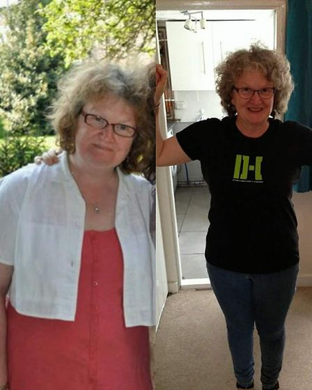 Caroline Calver before she began training with Dominic Hills (left) and after. Photo: Dominic Hills