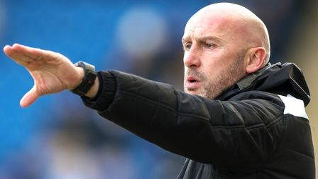 John McGreal gives directions during the 1-0 home defeat to Barnet on Saturday. Picture: STEVE WALLE