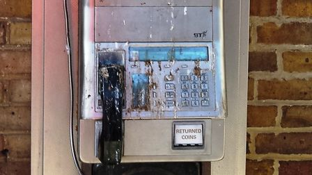 The public payphone has suffered from pigeon droppings at Woodbridge Station. Picture: GREATER ANGLI