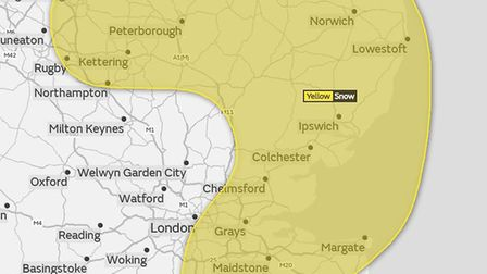 A yellow weather warning for snow covers much of the Eastern region. Picture: MET OFFICE