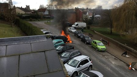 Firefighters have tackled a car fire in Walnut Tree Lane in Sudbury. Picture: ROBIN DRURY