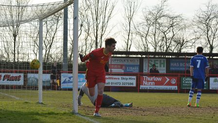 Jamie Griffiths scores his first goal of the game against Margate on Saturday. Photo: BEN POOLEY