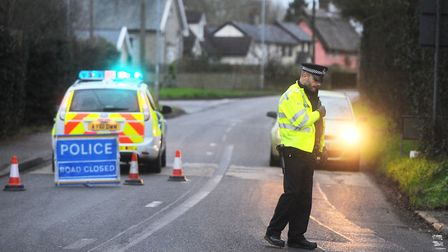 The scene of the crash in Great Finborough. Picture: GREGG BROWN