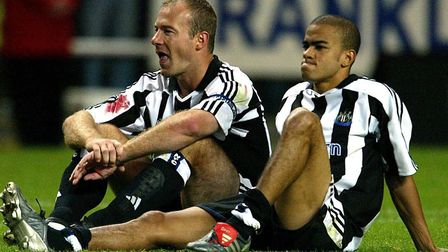 Newcastle's Alan Shearer (left) and Kieron Dyer reflect on a penalty shoot-out defeat against Partiz