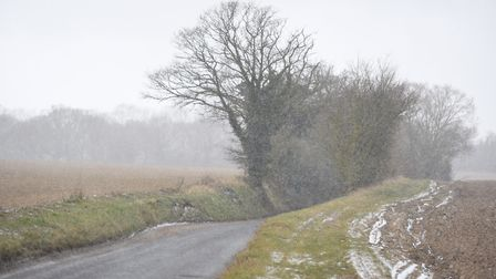 A snow shower passes through Sudbury. Picture: GREGG BROWN