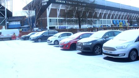 Snow is beginning to settle in Ipswich. Picture: ROSS HALLS