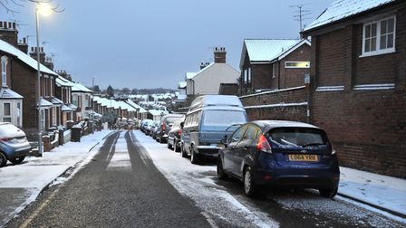 The snow began settling across Ipswich this afternoon. Picture: SARAH LUCY BROWN