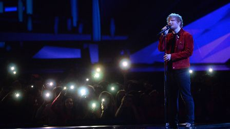 Ed Sheeran performs during the 2018 BRIT Awards show, held at the O2 Arena, London. Picture: VICTORI