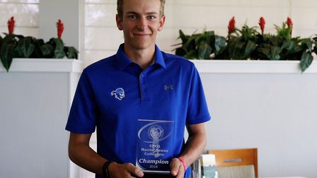Gregor Tait with his trophy after winning the Martin Downs Collegiate title, in Florida. Photograph: