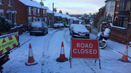 Belle Vue Road in Ipswich has been closed because of the snow. Picture: ASHLEY PICKERING
