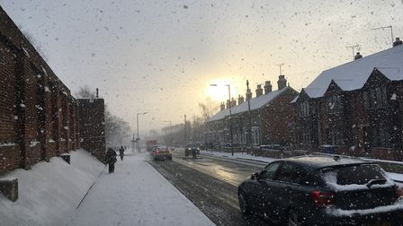 People in Bury St Edmunds woke up to more snowfall. Picture: MICHAEL STEWARD