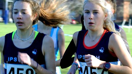 The Ipswich Harriers duo of Mimi Salsby, left, and April Hill, who finished 76th and 40th respectiv