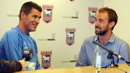 Former Ipswich Town boss Roy Keane, left, and Brenner Woolley in conversation.