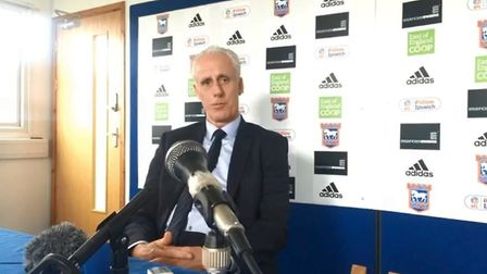 Mick McCarthy, the current Town boss, speaking to Brenner Woolley and the rest of the media at a pre