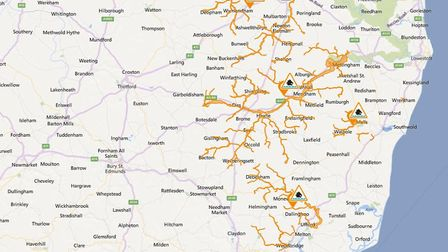 Flood alerts in Suffolk and surrounding areas issued by the Environment Agency on Monday morning (05
