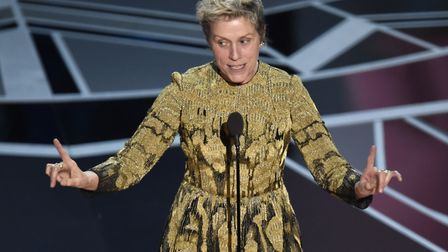 """Frances McDormand accepts the award for best performance by an actress in a leading role for """"Three"""