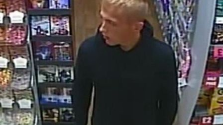 CCTV of Bradley Blundell, who police want to trace in connection with the death of John Pordage in C