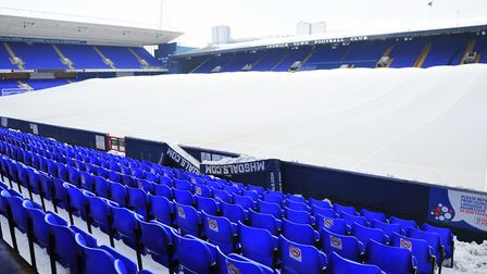 Portman Road in the snow - which forced Saturday's game with Hull to be postponed. Picture: SARAH L