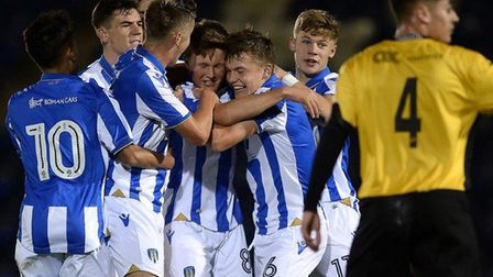 Colchester United Under-18s, celebrating a goal in the first round of the FA Youth Cup against Chesh