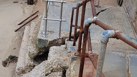 Damaged steps at Walton-on-the-Naze, which have been temporarily cordoned off. Picture: TENDRING DIS