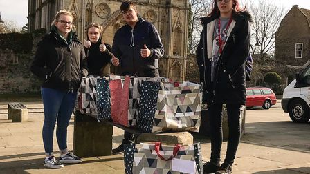 Members of the Princes Trust Team 33 with some of the 'Blessing Bags' in Bury St Edmunds