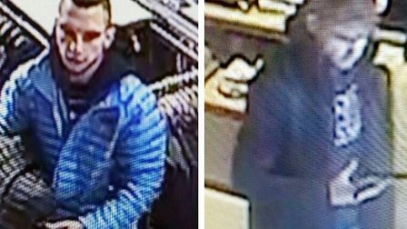 Police would like to speak to these two men in connection with a theft from Freeport in Braintree. P