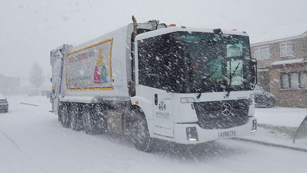 Bin crews struggled to complete their rounds in the snow. Picture: IPSWICH BOROUGH COUNCIL