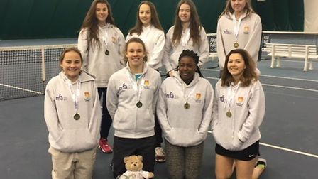 Suffolk girls U18 squad, with mascot, who gained promotion at Bromley.