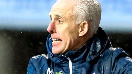 Ipswich Town manager Mick McCarthy gives out instructions. Photo: Steve Waller