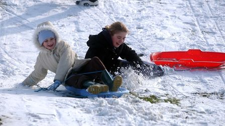 These two were making the most of the snow in Christchurch Park in 2005. Picture: LUCY TAYLOR