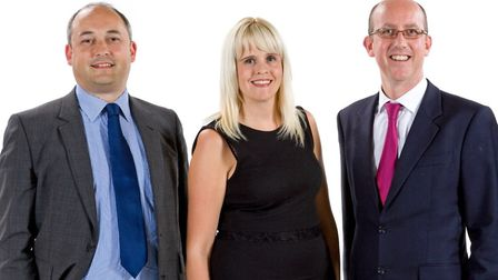 The Ensors pensions team, from left, Barry Gostling, Zoe McLaughlin and Malcolm McGready, Picture: