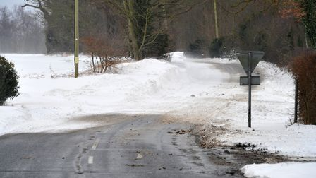 A snow drift on the road to Brightwell. Picture: SARAH LUCY BROWN