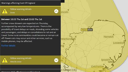 Met Office yellow warning for snow for the East of England. Picture: MET OFFICE