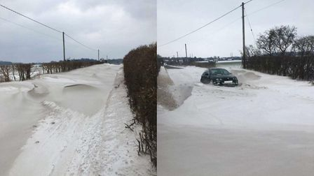 Snowdrifts near Saxmundham this morning. Picture: NEIL GOTTS