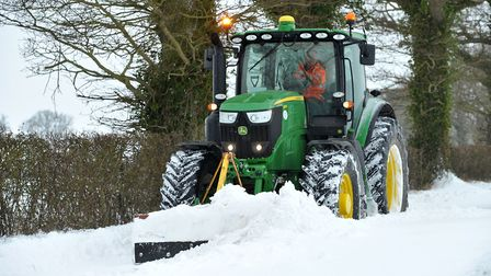 Kenny Crane in his tractor on the road out of Easton. Picture: SARAH LUCY BROWN