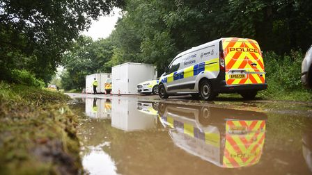 Police at the scene in East Harling last year. Picture : ANTONY KELLY