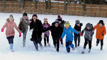 Pupils at Hardwick Primary School in Bury St Edmunds celebrate the school open and having fun in the