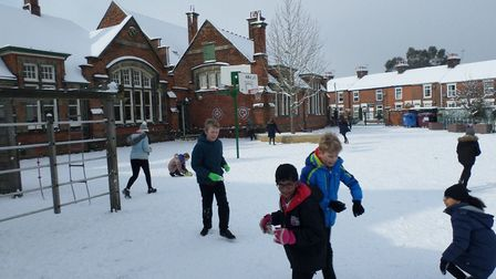 Pupils enjoying the snow at Clifford Road Primary School in Ipswich. Picture: CLIFFORD ROAD PRIMARY