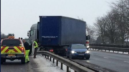The jackknifed lorry on the A12 in Essex. Picture: COLIN SHEAD/ESSEX POLICE